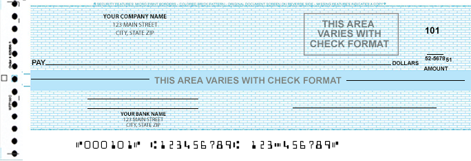one write checks Business checks (aka computer checks) can be subdivided into continuous, laser, and manual checks all can be custom printed with your logo or any type of contact information.